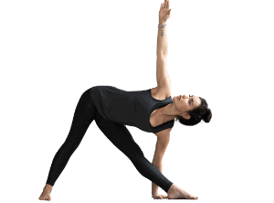 woman in extended triangle yoga pose asana