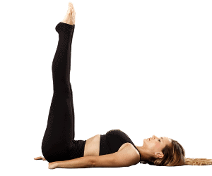 woman in legs up the wall yoga pose asana